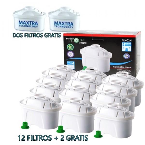 Pack 4 filtros de agua para cartucho 100 l de agua filtrada Brita maxtra